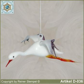 Glass animals, glass birds, glass bird flying stork