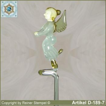 Flowers rods, orchids rods, flowers holders made ??of glass with glass figurine Angel Murano glass white gold