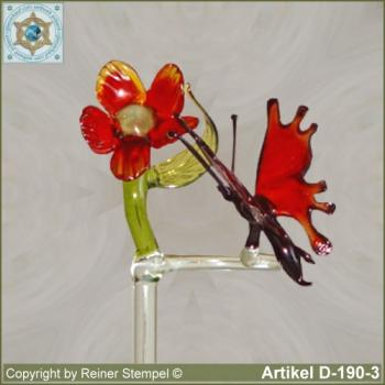 Flowers rods, orchids rods, flowers holders made ??of glass with glass flower and glass animal butterfly red