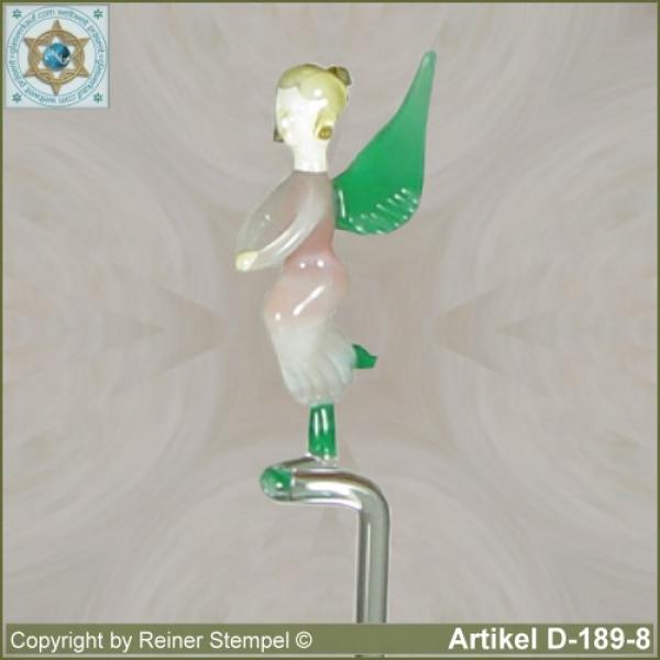 Flowers rods, orchids rods, flowers holders made ??of glass with glass figurine Angel Murano glass white rose green