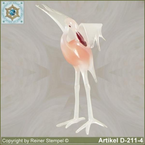 Glass animals, glass birds, glass bird, Flamingo in 6 different variants Murano glass white rose version 4