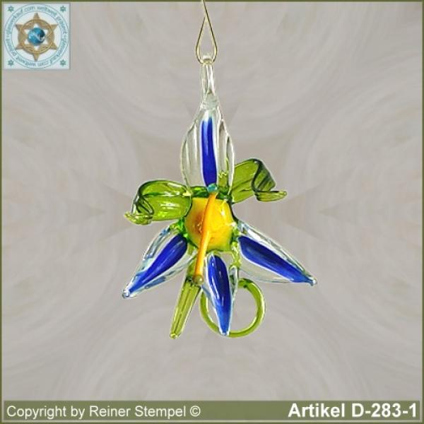 Glass flowers, glass flower, bloom small blue for appending